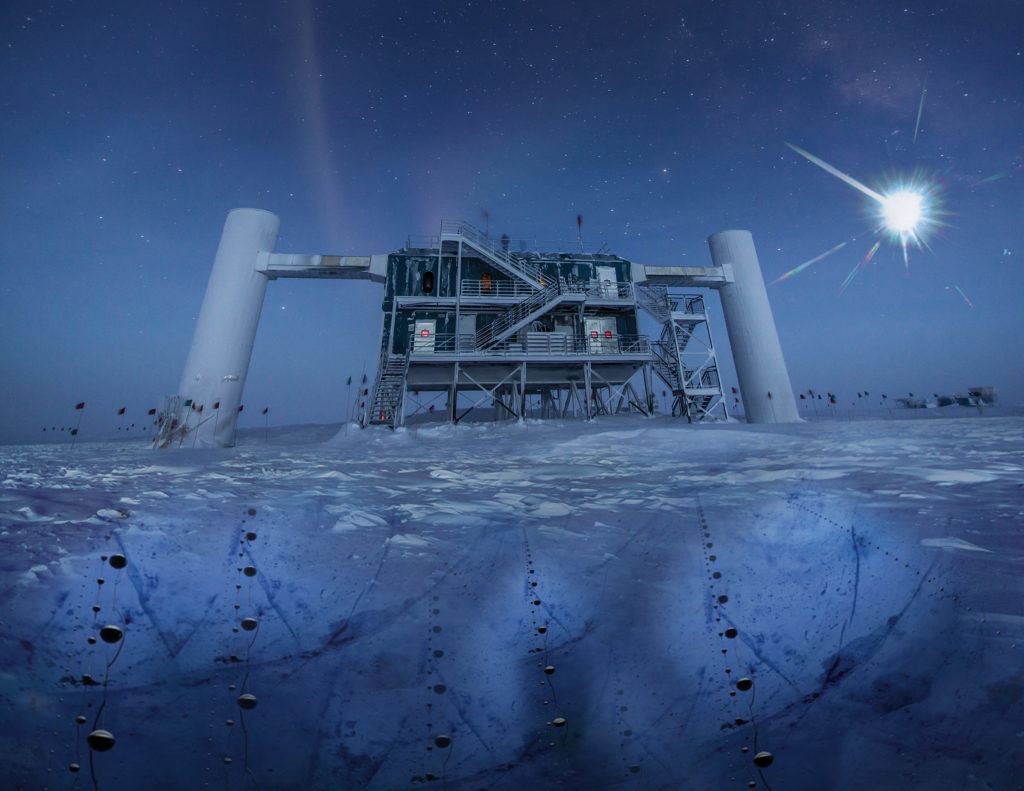In this artistic composition, based on a real image of the IceCube Lab at the South Pole, a distant source emits neutrinos that are detected below the ice by IceCube sensors, called DOMs. Image by IceCube/NSF