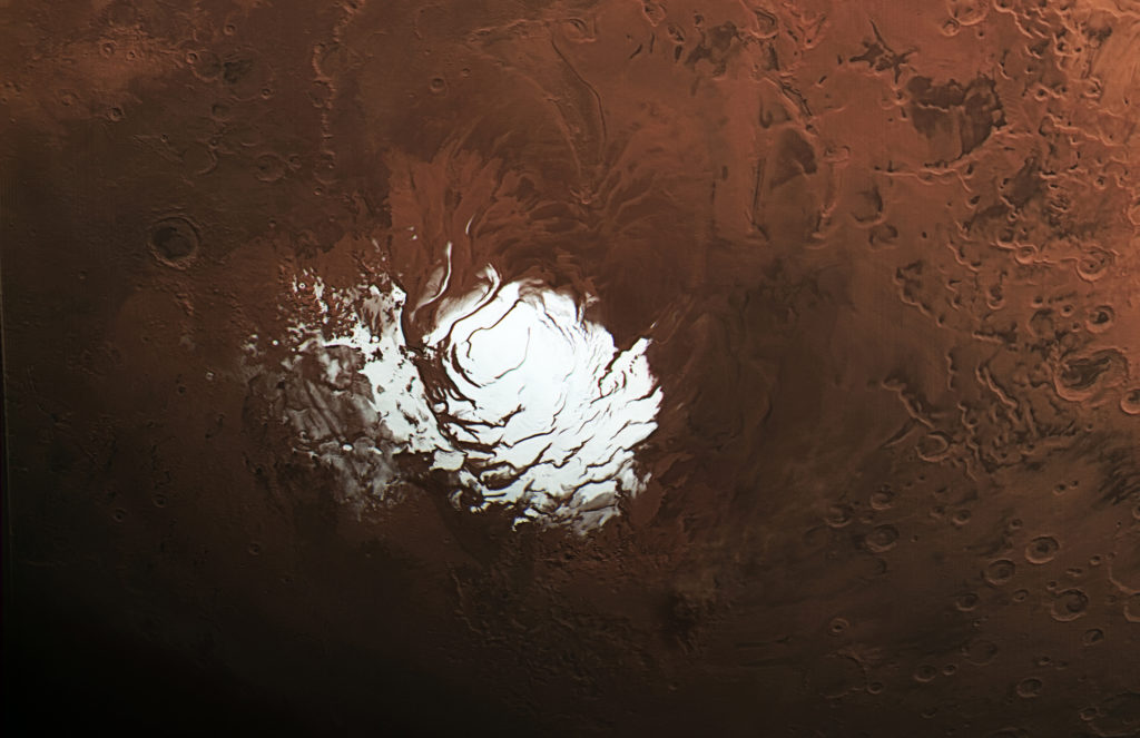 View of Mars' south polar ice cap as captured by the European Space Agency's Mars Express. Photo by ESA/DLR/FU Berlin, CC BY-SA 3.0 IGO