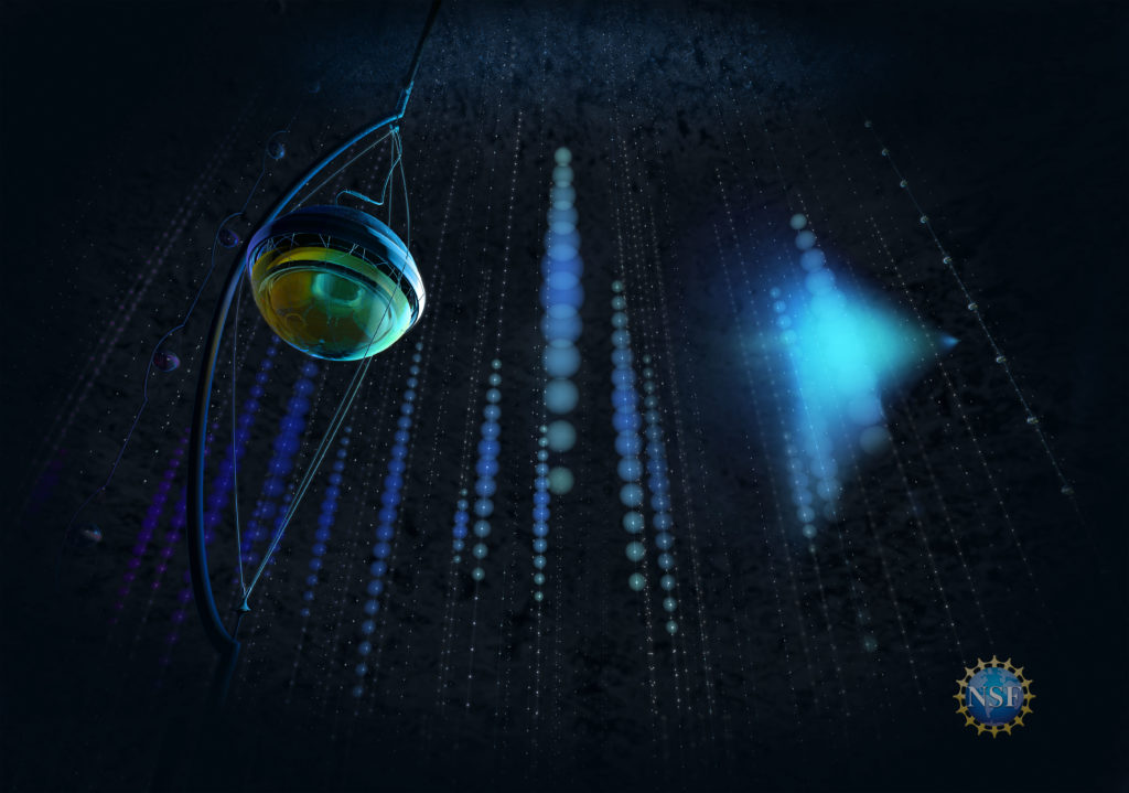 When a neutrino interacts in the clear Antarctic ice, it produces secondary particles that leave a trace of blue light as they travel through NSF's IceCube detector. Image by Nicolle R. Fuller/NSF/IceCube