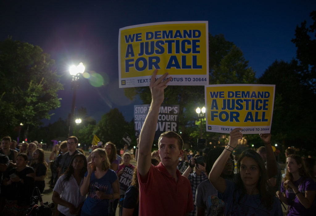 Protesters demonstrate in front of the U.S. Supreme Court on July 9…