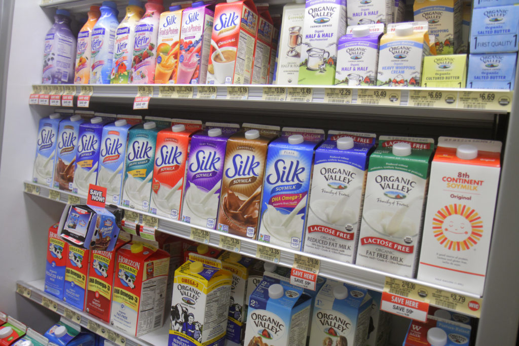 Shelves of lactose free milk for sale inside the Publix grocery store at Marco Island. Photo by: Jeffrey Greenberg/UIG via Getty Images
