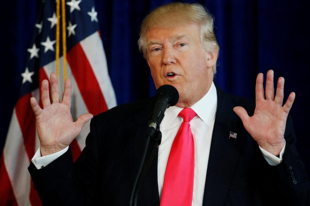 U.S. Republican presidential nominee Donald Trump speaks at a campaign event at Trump Doral golf course in Miami, Florida,...