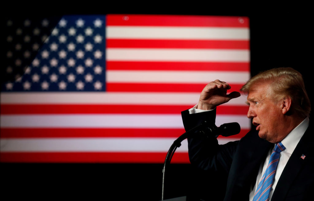 "President Donald Trump delivers remarks at a ""Salute to Service"" dinner held in honor of the nation's military at The Greenbrier in White Sulphur Springs, West Virginia. REUTERS/Leah Millis"