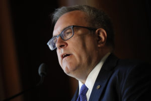 Environmental Protection Agency (EPA) Acting Administrator Andrew Wheeler addresses staff at EPA headquarters in Washington, D.C. Photo by Ting Shen/Reuters