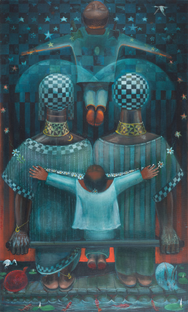 Family Circle, by John Biggers, 1997. Photo courtesy of Michael Rosenfeld Gallery LLC, New York, NY