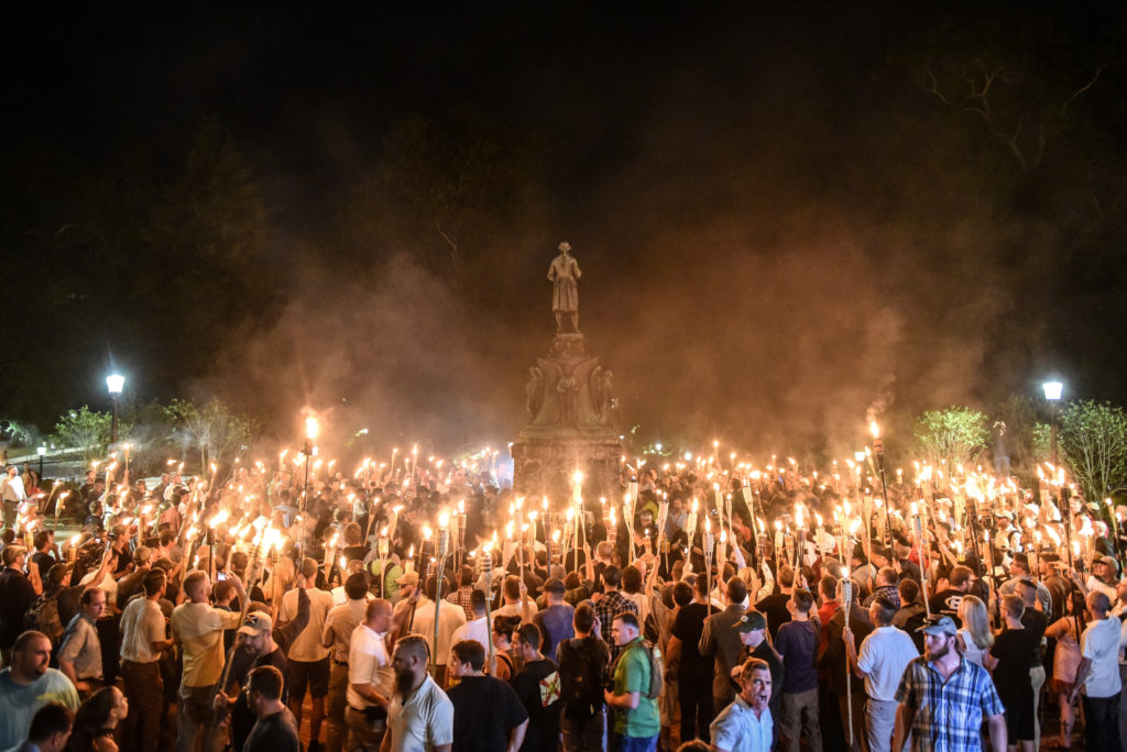 White nationalists participate in a torch-lit march on the grounds of the University of Virginia ahead of the Unite the Right Rally in Charlottesville, Virginia on August 11, 2017. Photo by REUTERS/Stephanie Keith