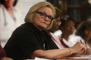 Sen. Claire McCaskill (D-Mo.) listens during a roundtable discussion on healthcare on May 4, 2018, at CareSTL Health in St. Louis. (Laurie Skrivan/St. Louis Post-Dispatch/TNS via Getty Images)