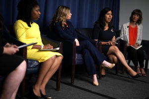 WASHINGTON, DC - JULY 24: (L-R) Michigan State House candidate Myya Jones, Pennsylvania State Senate candidate Katie Muth, Florida State House candidate Anna Eskamani, and Ohio State House candidate Rachel Crooks participate in a discussion hosted by People For the American Way's Next Up Victory Fund July 24, 2018 at the National Press Club in Washington, DC. Young progressive female candidates from battleground states, including Crooks who has publicly accused Donald Trump of sexual assault, and other survivors of sexual assault and harassment, gathered to discuss the power of the #MeToo movement in the 2018 elections. (Photo by Alex Wong/Getty Images)