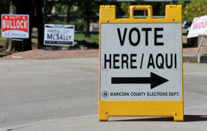 PHOENIX, AZ - AUGUST 28: An elections department sign directs Arizo…