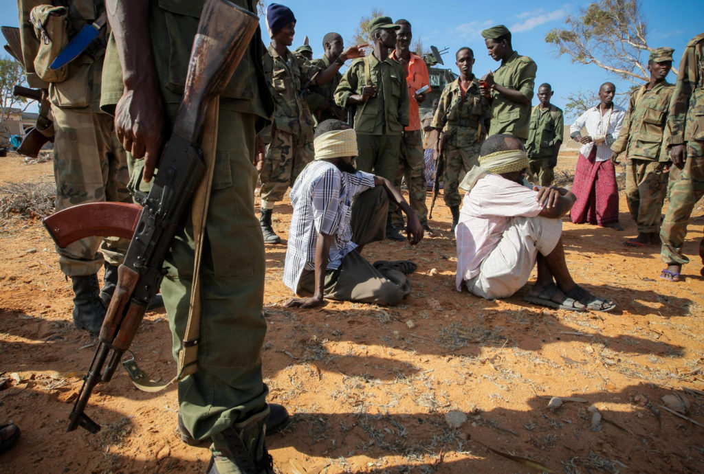 These suspected al-Shabab fighters were taken into custody by the Somali National Army in 2012. Photo by Stuart Price/Gett...