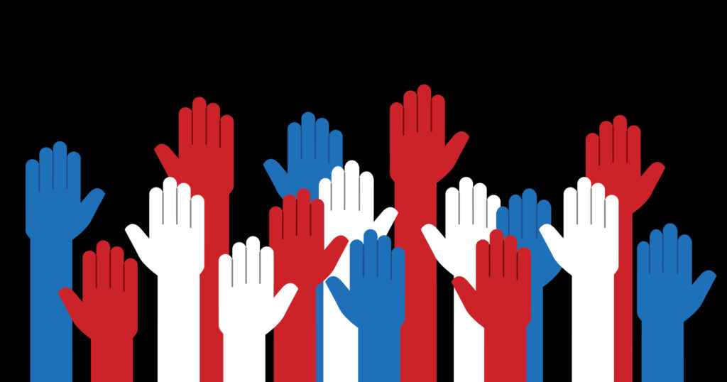 raised up hands in red white and blue.