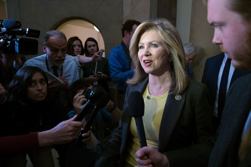 WASHINGTON, DC - MARCH 23: Rep. Marsha Blackburn (R-TN) is surrounded by reporters after leaving the office of Speaker of the House Paul Ryan (R-WI) at the U.S. Capitol March 23, 2017 in Washington, DC. Ryan and House GOP leaders postponed a vote on the American Health Care Act after it became apparent they did not have enough votes to pass the legislation that would repeal and replace Obamacare. (Photo by Chip Somodevilla/Getty Images)