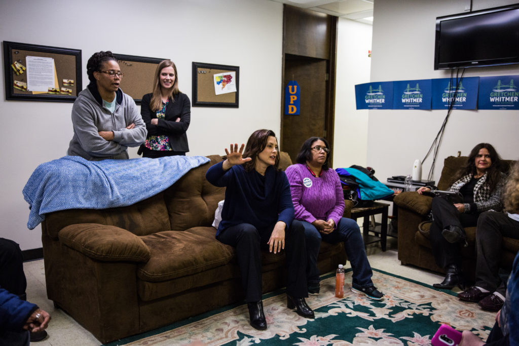 DETROIT, MI  - DECEMBER 19: Gretchen Whitmer speaks with community members and organizers at the United Precinct Delegates office on W McNichols Rd in Detroit, Michigan on December 19, 2017. (Photo by Ali Lapetina for The Washington Post via Getty Images)