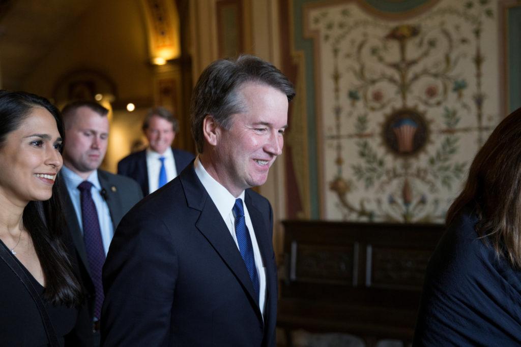 U.S. Supreme Court nominee Brett Kavanaugh seen before meeting with U.S. Senator Amy Klobuchar at the Hart Senate Office B...