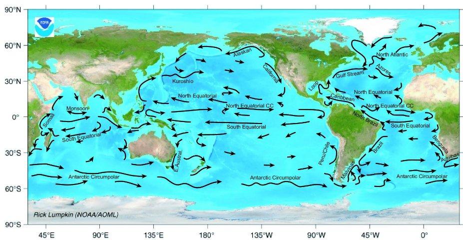 Major ocean currents. Map by NOAA