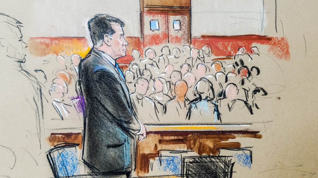 Former Trump campaign manager Paul Manafort stands in a court room sketch, on the opening day of his trial on bank and tax fraud charges stemming from Special Counsel Robert Mueller's investigation into Russian meddling in the 2016 U.S. presidential election, in Alexandria, Virginia, U.S. July 31, 2018. Photo by REUTERS/Bill Hennessy