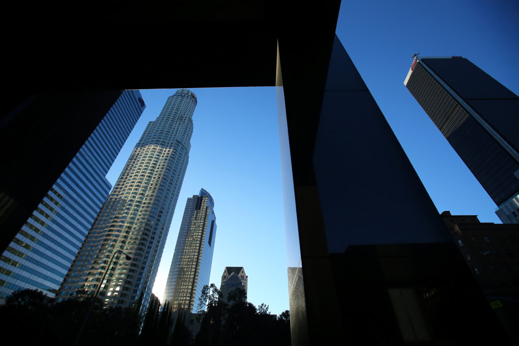Office towers are pictured in downtown Los Angeles, California. Photo by Mike Blake/Reuters