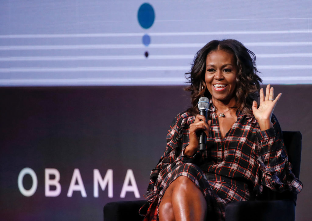 Former first lady Michelle Obama speaks during the second day of the first Obama Foundation Summit in Chicago, Illinois, in November 2017. Photo by Kamil Krzaczynski/Reuters