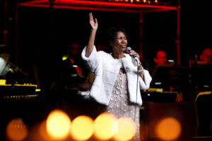 Aretha Franklin performs during the commemoration of the Elton John AIDS Foundation 25th year gala at the Cathedral of St. John the Divine in New York City, in November 7, 2017. Photo by Shannon Stapleton/Reuters