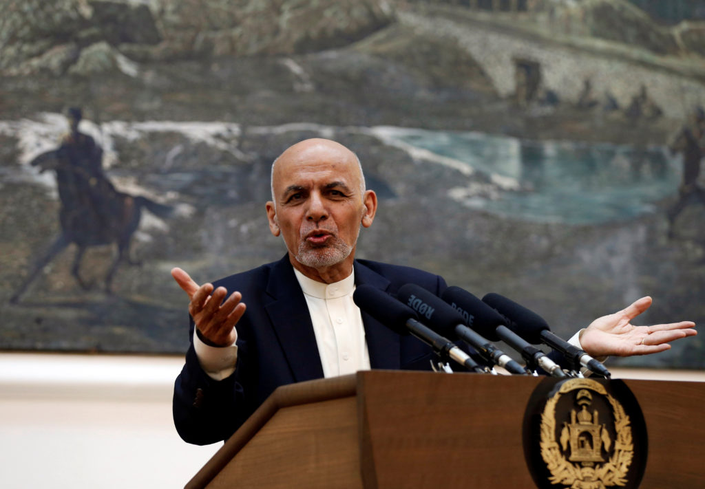 Afghan President Ashraf Ghani speaks at a news conference in Kabul, Afghanistan on June 30. Photo by Mohammad Ismail/Reuters