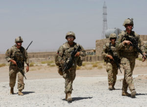 U.S. troops patrol at an Afghan National Army Base in Logar province, Afghanistan on Aug. 7. Photo by Omar Sobhani/Reuters