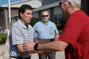 Republican candidate Troy Balderson, in Ohio's 12th congressional district, shakes hands with a voter at a polling station during Tuesday's special election in Newark, Ohio, on August 7, 2018. Photo by Shannon Stapleton/Reuters