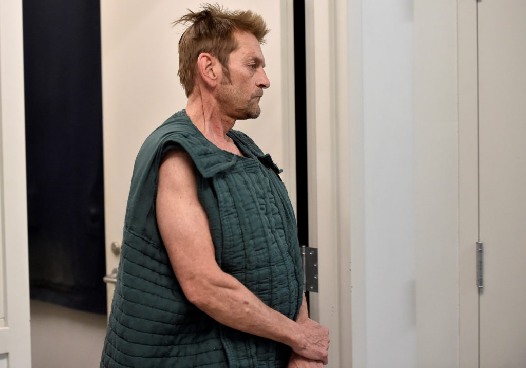 Adam Purinton, 51, accused of killing Srinivas Kuchibhotla, 32, and wounding Alok Madasani, 32, as well as an American who tried to intervene, appearing via a 2017 video conference from jail during his initial court appearance in Olathe, Kansas. Photo by Jill Toyoshiba/The Kansas City Star via Reuters