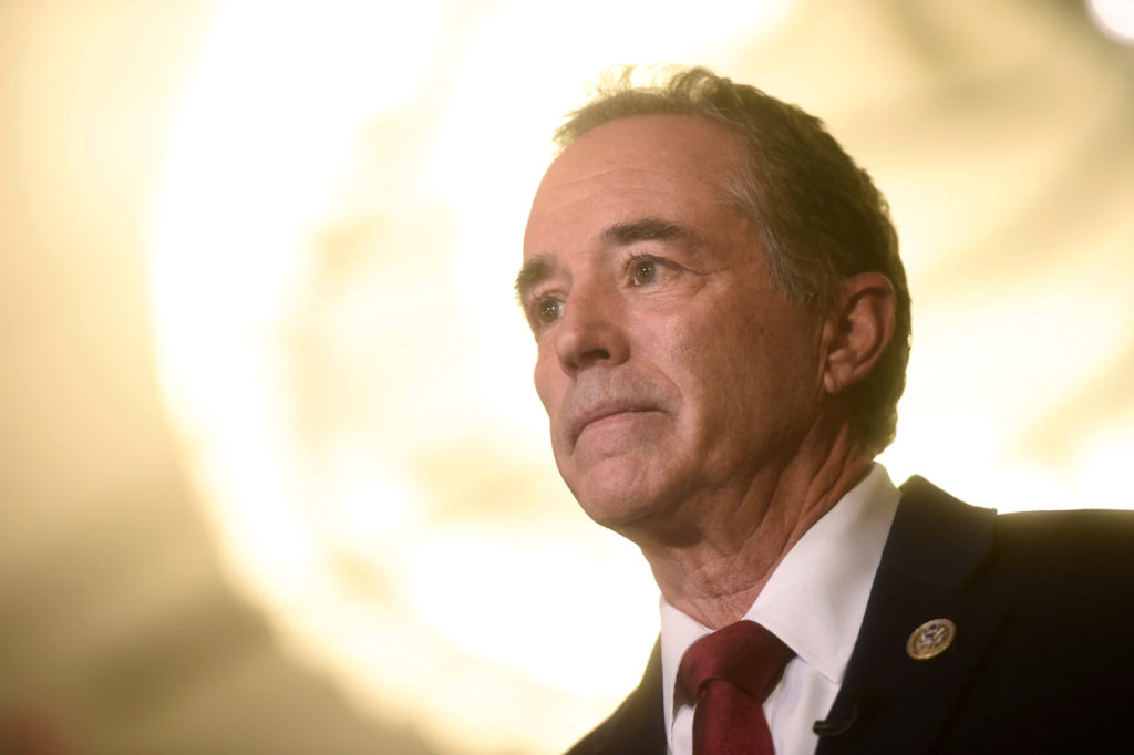 """U.S. Representative Chris Collins is interviewed during the 2017 """"Congress of Tomorrow"""" Joint Republican Issues Conference..."""