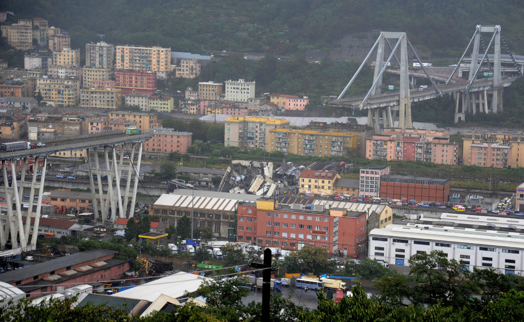 The Morandi Bridge is about 150 feet high. Photo by Reuters stringer