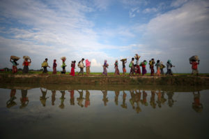 Rohingya refugees continue to make their way after crossing from Myanmar into Palang Khali, near Cox's Bazar, Bangladesh, on Nov. 2, 2017. Photo by Hannah McKay/Reuters