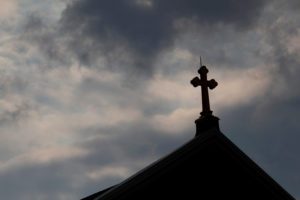 Storm clouds pass over a Roman Catholic church in Pittsburgh, Pennsylvania. Photo by Jason Cohn/Reuters