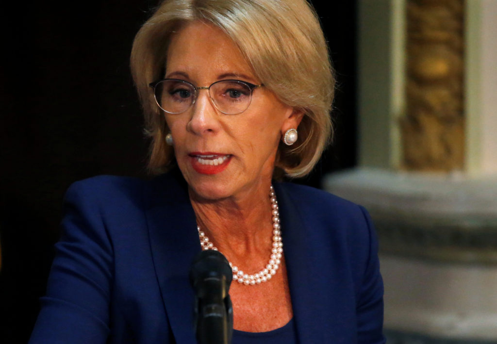 Education Secretary Betsy DeVos takes part in a Federal Commission on School Safety meeting at the White House in Washingt...