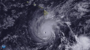 Hurricane Lane, with a well-defined eye, is shown positioned about 300 miles south of Hawaii's Big Island at 2 p.m. ET on Aug. 22, 2018. Photo by NOAA/Goes-East Imagery via Reuters