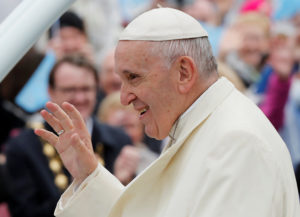 Pope Francis waves as he arrives at the Knock Shrine in Knock, Ireland, August 26, 2018. Photo by Stefano Rellandini/Reuters