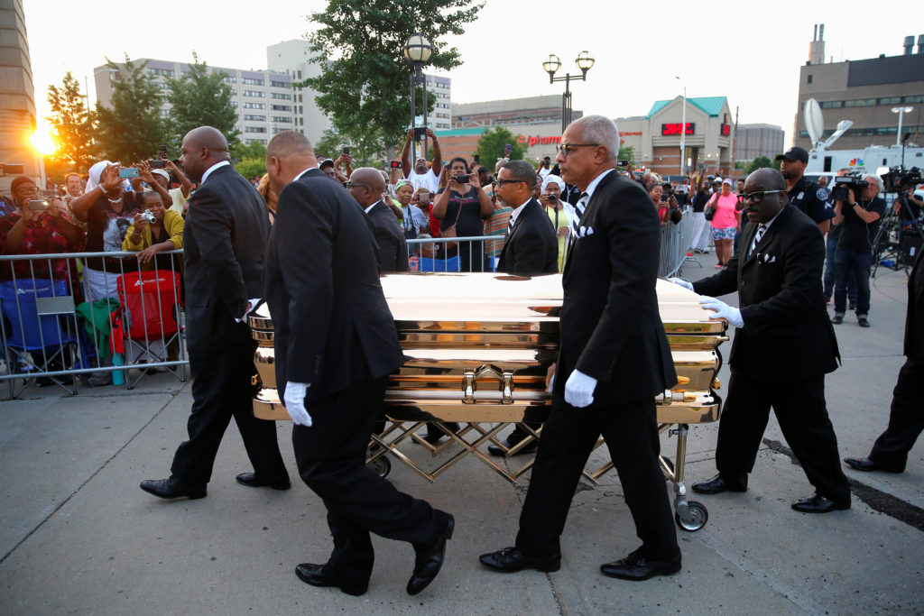The casket carrying the late singer Aretha Franklin arrives at the Charles H. Wright Museum of African-American History where she will lie in state for two days of public viewing, in Detroit, Michigan. Photo by Mike Segar/Reuters