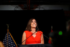 Martha McSally greets her supporters on election night after winning the Republican primary for the open Senate seat in Tempe, Arizona. Photo by Nicole Neri/Reuters