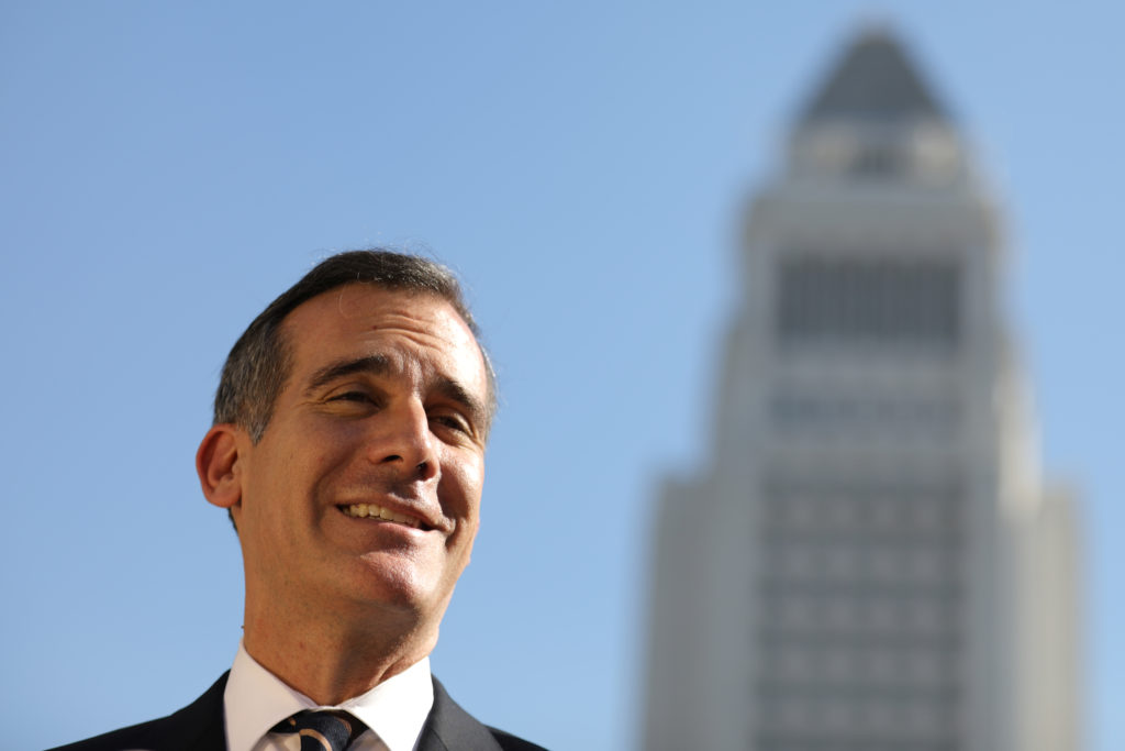 Los Angeles Mayor Eric Garcetti speaks at a press conference in Los Angeles, California. Photo by Lucy Nicholson/Reuters