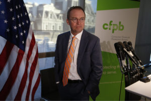 Office of Management and Budget (OMB) Director Mick Mulvaney arrives to speak to the media at the U.S. Consumer Financial Protection Bureau (CFPB), where he began work earlier in the day after being named acting director by President Donald Trump in Washington, D.C. Photo by Joshua Roberts/Reuters