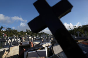 Graves destroyed during Hurricane Maria in September 2017, are seen at a cemetery, in Lares, Puerto Rico. Photo by Alvin Baez/Reuters