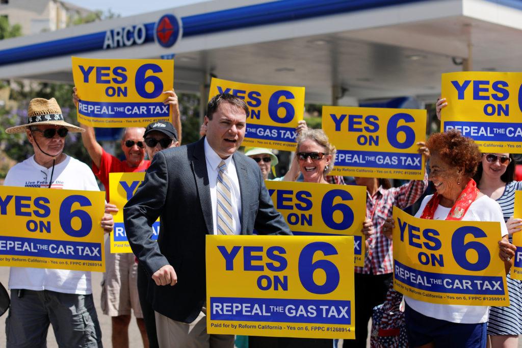 Gas tax organizer Carl DeMaio speaks on California Proposition 6, a…
