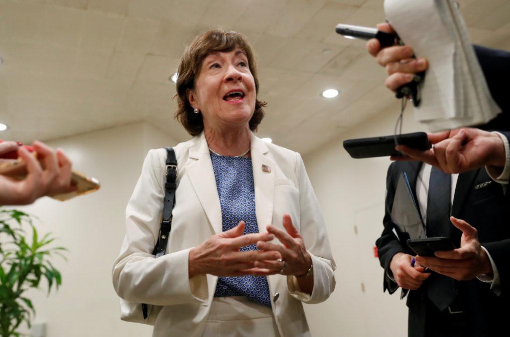 Sen. Susan Collins (R-Maine) speaks with news media at the U.S. Capitol building in Washington, D.C. Photo by Leah Millis/Reuters