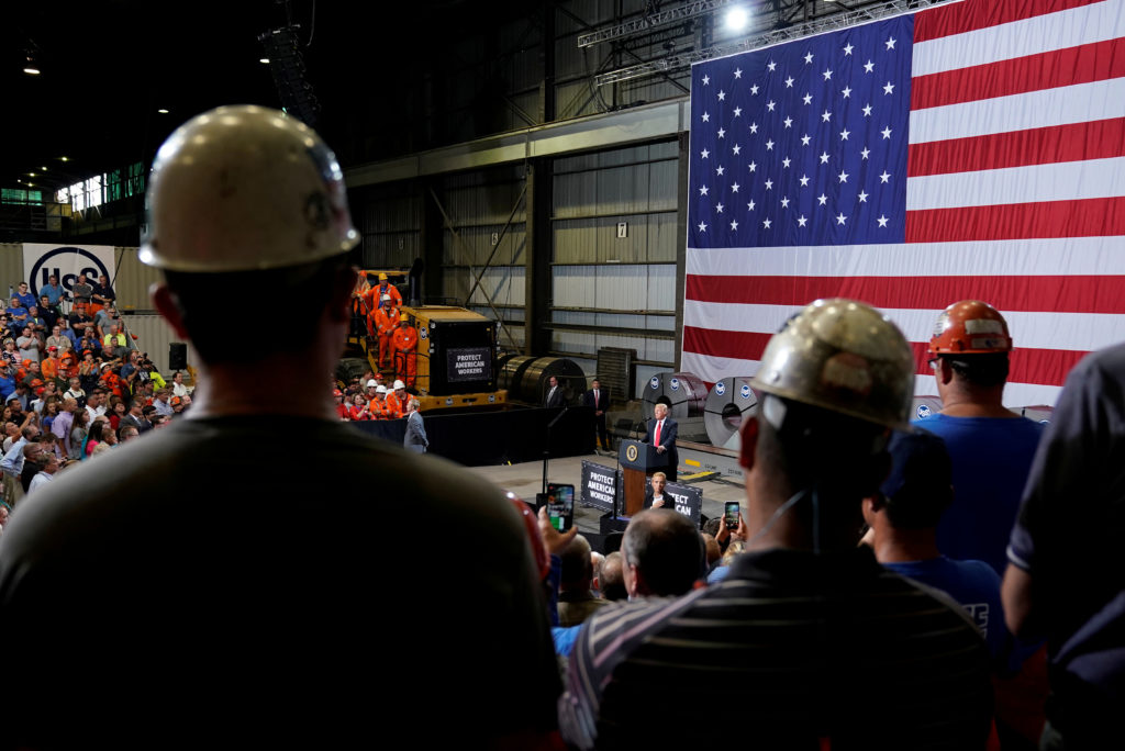 FILE PHOTO: U.S. President Donald Trump speaks about trade at the Granite City Works steel coil warehouse in Granite City, Illinois, U.S., July 26, 2018. REUTERS/Joshua Roberts/File Photo - RC15922E6BA0