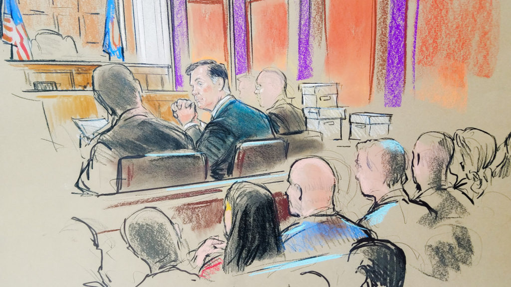 Former Trump campaign manager Paul Manafort is shown in a court room sketch, as he sits in federal court on the opening day of his trial on bank and tax fraud charges stemming from special counsel Robert Mueller's investigation into Russian meddling in the 2016 U.S. presidential election, in Alexandria, Virginia. Photo by Bill Hennessy/Reuters
