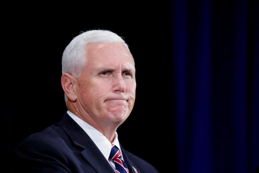 U.S. Vice President Mike Pence speaks to attendees during the Department of Homeland Security's Cybersecurity Summit in Ma...