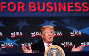 President Donald Trump speaks during an April roundtable on tax cuts for Florida small businesses in Hialeah, Florida. Photo by Kevin Lamarque/Reuters