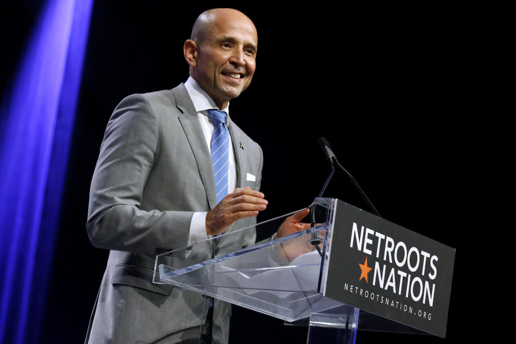 David Garcia, gubernatorial candidate for Arizona, speaks at the Netroots Nation annual conference for political progressives in New Orleans, Louisiana, U.S. August 4, 2018. REUTERS/Jonathan Bachman - RC189D795E90
