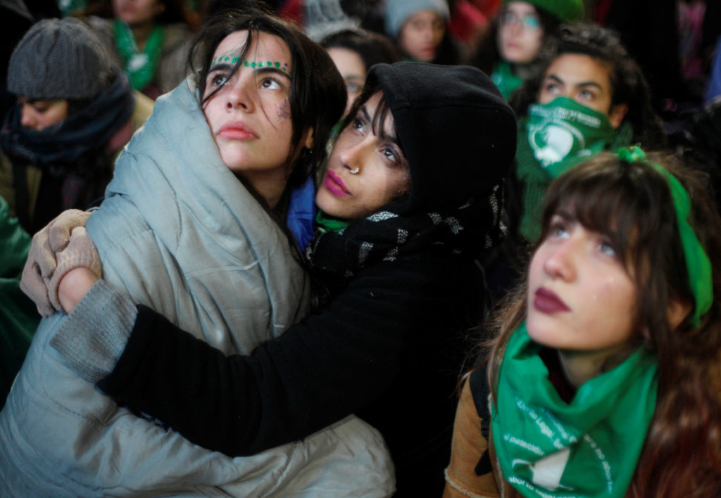 Demonstrators attend a protest in favour of legalising abortion out…