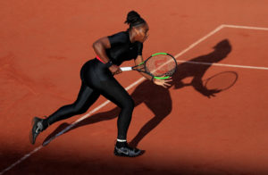 Serena Williams in her catsuit at the French Open, June 2, 2018. Photo by Gonzalo Fuentes/Reuters