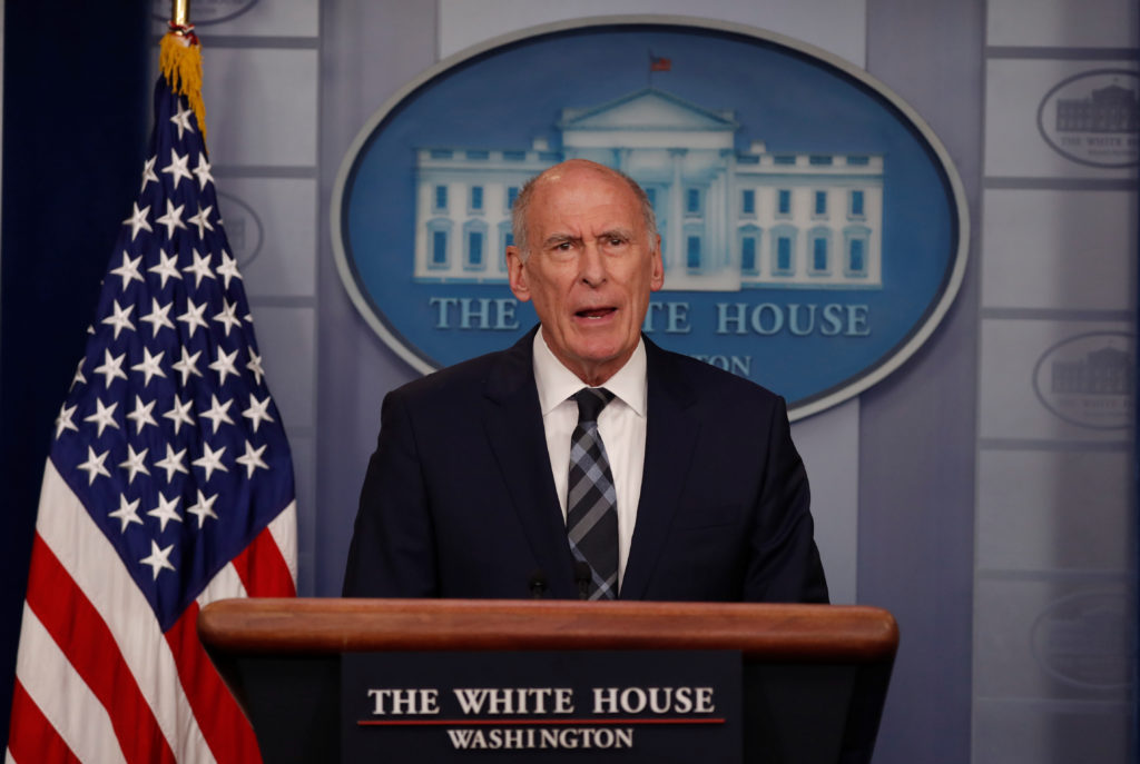 U.S. Director of National Intelligence Dan Coats addresses the news…