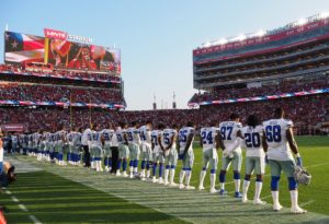Aug 9, 2018; Santa Clara, CA, USA; Dallas Cowboys players stand for the national anthem before the game against the San Francisco 49ers at Levi's Stadium. Credit: Kelley L Cox-USA TODAY